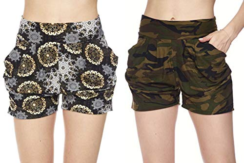 Women's 2 Pack Premium Ultra Soft Harem Shorts in Fun Trendy Patterns (Green Camo & Abstract Circles, S/M (2-8)) ()