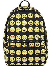 Veevan Sac à Dos Emoji Joli Fille ou Garçon en Polyester(Noir)