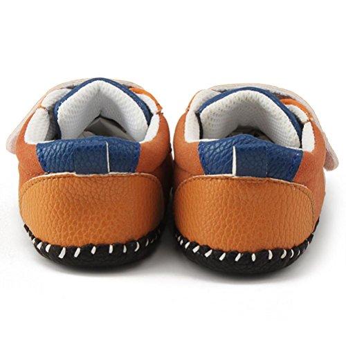 Prevently Weiche Lederschuhe für Babys und Kleinkinder Baby Schuhe Mädchen Jungen Krippe Schuhe Sohle Turnschuhe Sneaker Schuhe Babyschuhe Lauflernschuhe Krabbelschuhe Braun
