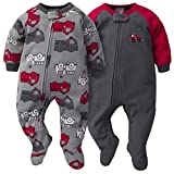 Gerber Baby Boys 2-Pack Blanket Sleeper, Gray/Red Fire Truck, 0-3 Months