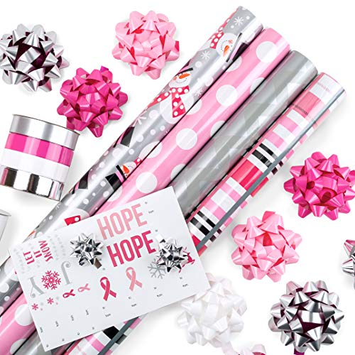 Pink Ribbon Wrap - Modern Pink Wrapping Paper Set Perfect for Birthdays, Awareness, Weddings, Holidays, and More! 4 Rolls of 24