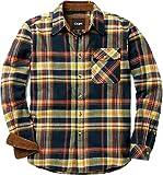 CQR CQ-HOF110-IDG_Large Men's Flannel Long Sleeved Button-Up Plaid 100% Cotton Brushed Shirt HOF110