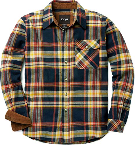 CQR Men's Flannel Long Sleeved Button-Up Plaid All Cotton Brushed Shirt, Plaid(hof110) - Indigo, Medium