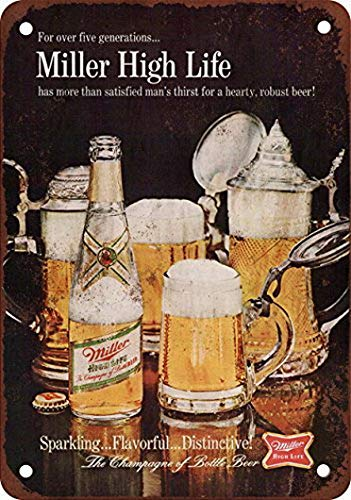 Houseuse 1967 Miller High Life Beer Vintage Look Reproduction Metal Tin Sign 8X12 Inches