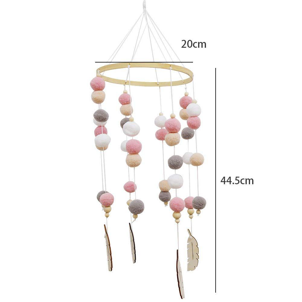 a1 Holz Ornament Geschenk f/ür Baby M/ädchen oder Jungen. Neugeborenen Kinderzimmer h/ängende Bettglocke Babybett Mobile Windspiel Rassel Spielzeug aus Filz Ball und Bambus