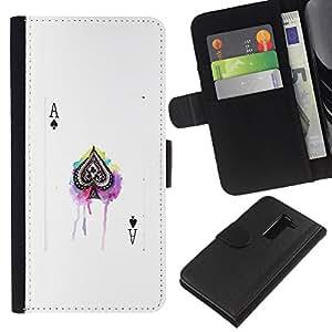 KingStore / Leather Etui en cuir / LG G2 D800 / Jeu de poker Blanc Black Card