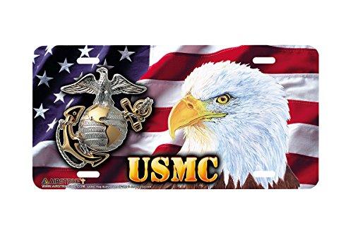 (Airstrike USMC American Flag License Plate Patriotic Eagle Marine Corps Front License Plate Made in USA (Made of Metal)-281 )