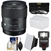 Sigma 35mm f/1.4 Art DG HSM Lens with Flash + Soft Box & Diffuser + 3 Filters + Kit for Sony Alpha A-Mount DSLR Cameras