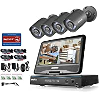SANNCE 8CH 720P DVR Surveillance Camera System with built-in 10.1 LCD monitor and (4) HD 1.0MP CCTV Cameras, H.264 Real-time Security System, Support Phone Remote Access Viewing-NO HDD