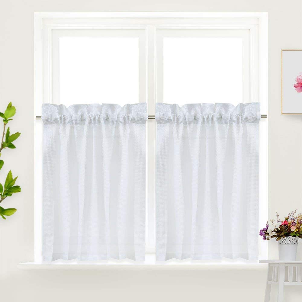 Idealhouse White Tier Curtains,Blackout Waffle Woven Textured Short Window Curtain for Cafe,Bathroom,Kitchen & kids bedroom Rod Pocket Curtains for Christmas gift(2 Panels, 30Inch Wide by 36Inch Long)
