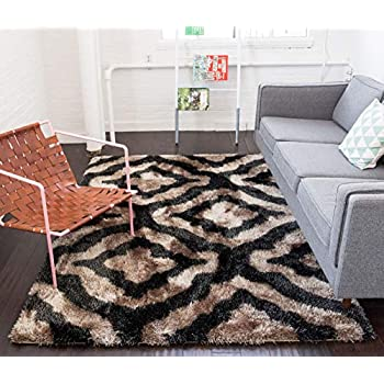 Luster Lattice Shag Black & Beige Trellis Modern Ultra Thick Soft Plush Shimmer Area Rug 5 x 7 (5'3