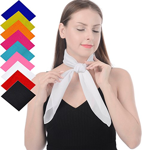 Retro Neck Style 50s - White Square Scarf Sheer Chiffon Scarf Handkerchief with Soft Fell