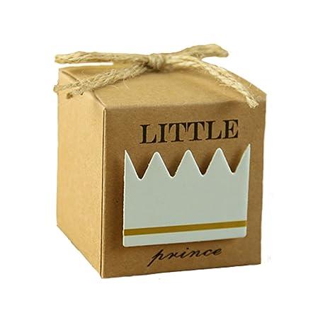 Kingsley 50pz Príncipe Bomboniere Vintage papel kraft Candy cajas regalo, cajas Cubo portaconfetti Segnaposto cuerda