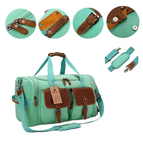 BLUBOON Weekender Duffle Bag Canvas Overnight Travel Duffel with Shoe Compartment for Women Leather Carry on Luggage Travel Tote Bag (Mint Green) by BLUBOON (Image #4)