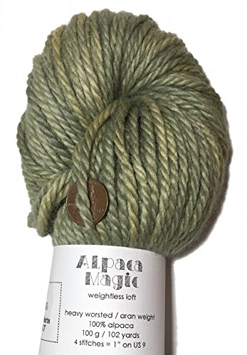 (Hand Dyed Baby Alpaca Yarn, Solid Green Herbs, Heavy Worsted Weight, 100 Grams, 102 Yards, 100% Baby Alpaca)