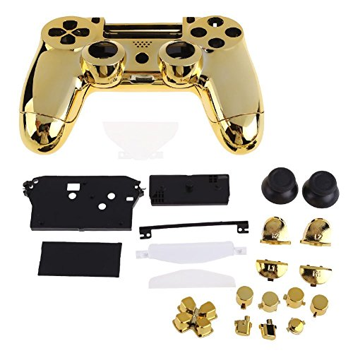 ElementDigital Controller Game Shell for PS4, Gold Replacement Polished Plating Housing Shell Cover Parts Case Kit with Buttons for PS4 Controller DualShock 4