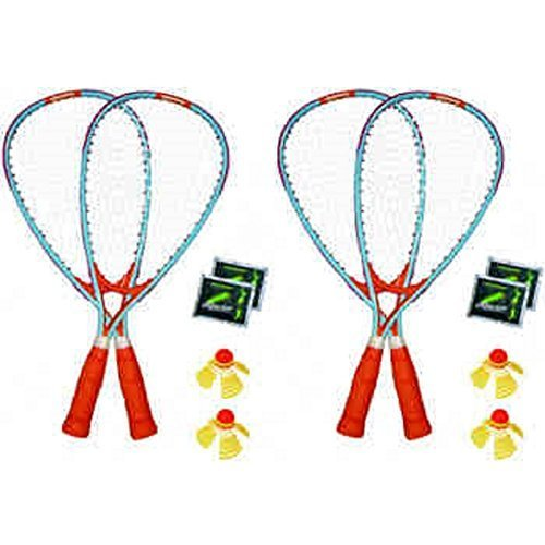 New 4-Player Racket FUN Outdoor Set, Wind/Water Resistant+The Glow in The Dark Option, Multicolored by Speedminton