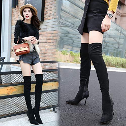 HBDLH Damenschuhe Im Winter Winter Winter Knie Hohe Stiefel Mit Hohen 10Cm Schlange Muster Sexy Scharf Darauf Dünne Sohle Gummi Stiefel. 754d0f
