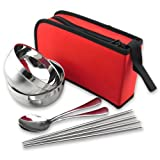 Newest trent Stainless Steel Folding Cutlery Sets ,Travel Picnic Lunch Bowl Spoon Chopsticks Set of 3 Camping Outdoor Tableware with Zipper Case Holder,for Family,lovers - Red
