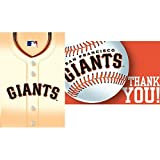 Amscan MLB Party San Francisco Giants Invitation & Thank You Card Set (16 Piece), Multi Color, 7.6 x 5""