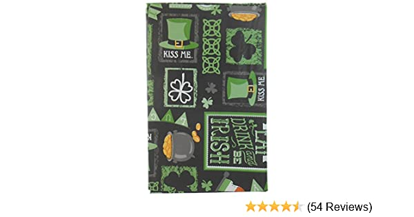 Chalkboard St Leprechauns Hat Horseshoes Patricks Day Vinyl Tablelcloth with Clovers 52x90 Pot O Gold Leprechaun/'s Hat Pot O/' Gold Nantucket Irish Flag and More Flannel Backing