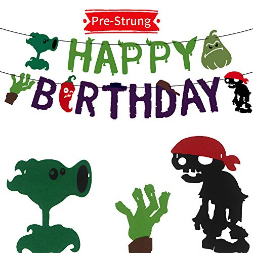 TGE-V Plants VS Zombies Birthday Party Banner for Various of PVZ Party Supplies Decorations, Banner Comes Assembled, 1 Pack (Plants Vs Zombies All Plants And Zombies)