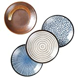 Mose China, Pack of 4, Assorted Color Japanese Ceramic Zen Style Side Dishes Underglazed Dinnerware Dessert Snack Plate