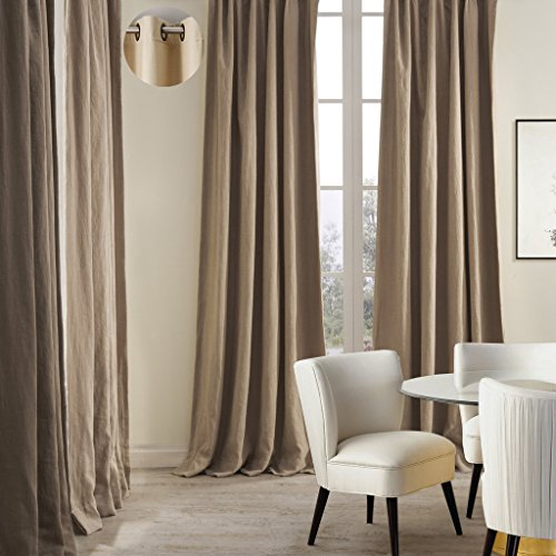 (ChadMade Premium Double Layers Antique Bronze Grommet Eyelet Linen Cotton Flax Curtain Drapery (1 Panel) In 50Wx96L inch)