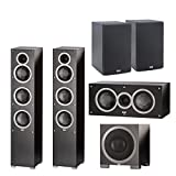 (1Pair) ELAC -Debut F5 Tower Speakers (Ea) + ELAC C5 Debut 5.25' Center Speaker + ELAC S10EQ Debut 400Watt Subwoofer with AutoEQ + ELAC B5 Debut 5.25' Bookshelf Speakers (Pair) Bundle