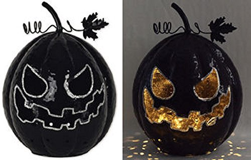 Sunset Vista Designs Scary Black Pumpkin Halloween Decoration with LED (Scary Halloween Pumpkin Designs)