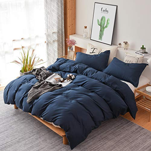 Colourful Snail 3-Piece Luxury Duvet Cover Set, Includes Duvet Cover and 2 Matching Pillow Shams, Ultra Soft and Easy Care, Wrinkle & Fade Resistant, Queen/Full, Navy (Queen Cover Duvet Blue Dark)