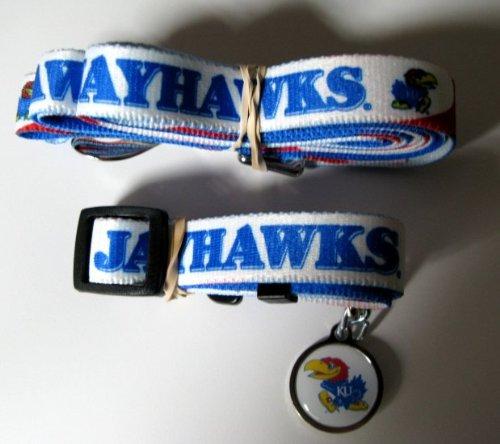 Kansas University Jayhawks Pet Set Dog Leash Collar ID Tag LARGE