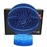 LED NBA Team 3D Optical Illusion Smart 7 Colors Night Light Table Lamp with USB Power Cable (Thunder)