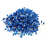 Uxcell a12082000ux0681 SV2-4M AWG 16-14 Pre Insulated Fork Terminals Connector, 1000 Piece, Blue