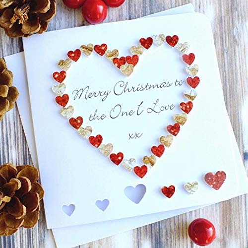 Christmas Heart.Handmade To The One I Love Merry Christmas Card Wife Husband Girlfriend Boyfriend Red Gold Heart