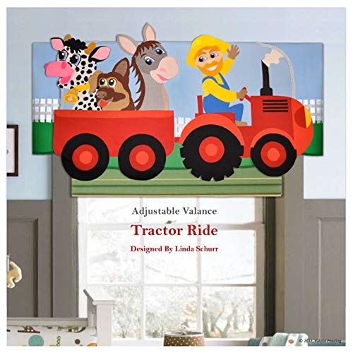 Custom Window Treatment, Tractor Ride Valance for Kids Room, Designed by Linda Schurr