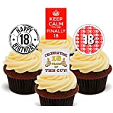 18th Birthday Boy Edible Cupcake Toppers - Stand-up Wafer Cake Decorations by Made4You