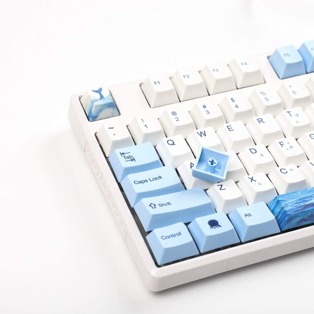 PBT Keycap Suitable for MX Switch 114-Key Cap Decorative Mechanical Keyboard Thickened OEM Contour Keycap Whale-Patterned Keycap