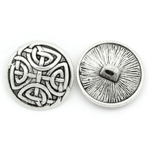 - 10pc Antiqued Silver Round Sewing Metal Buttons Pattern Carved (5/8