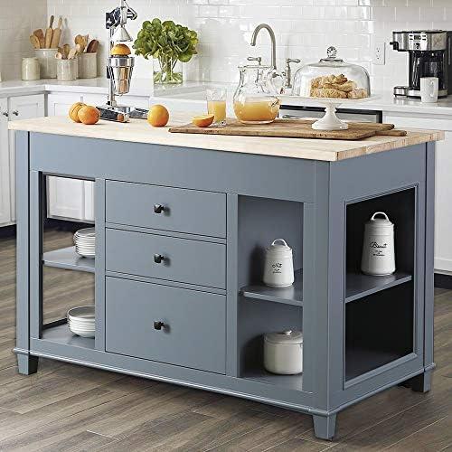 Design Element KD-01-GY Medley 54″ Wide Butcherblock Farm House Kitchen Island