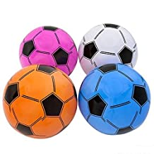 ONE DOZEN Inflatable Soccer Balls ~ Soccer Ball inflates ~16'' Assorted Colors ~ Blue White Purple Pink ~ Pool Party Favor Beachballs Birthday oudoor Water Fun