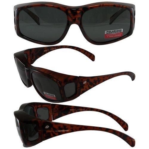 Birdz Eyewear Beak 1.1 mm Polarized Sunglasses Brown Tortoise Print Frame (Over-Prescription glasses) 100% UV 400 protection Micro-fiber carry bag - Sunglasses Shell Tortise
