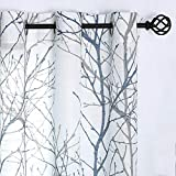 Blue White Curtains 84' for Living Room Grey Tree Branches Print Curtain Set Linen Textured Semi-Sheer Window Drapes for Bedroom Grommet Top, 2 Panels