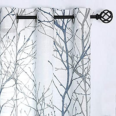 """Fmfunctex White Semi-Sheer Curtains 96-inches Long Blue and Grey Branches Printing on Linen Textured White Window Treatment Panels for Living Room Bedroom Kitchen Draperies 1 Pair - READY MADE CURTAINS: Sold in pair, 50"""" w x 95"""" /panel, 100"""" w x 95"""" /pair, Blue grey branch on white curtains. Recommend ordering 2 to 3 times rod width for proper look and fullness NATURAL INSPIRED PATTERN: Blue and grey tree branch print on white background open weave linen Semi Sheer inspires a modern aesthetic twist with the bold and dramatic natural painting pattern. These print curtains will certainly upgrade your home décor at no cost, perfect for living room, bedroom, family room, dining room, kitchen, farmhouse, studio, Kids Room. DRAPE IN SHAPE: These thick and heavy-duty semi-sheer curtains give the panel a nice drop and a luxurious textured Look. Besides, our curtain is ecofriendly and safe to people with the new print technology. - living-room-soft-furnishings, living-room, draperies-curtains-shades - 51FxAMeBatL. SS400  -"""