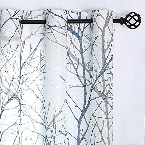 White Semi-Sheer Curtains 96-inches Long Blue and Grey Branches Printing on Linen Textured White Window Treatment Panels for Living Room Bedroom Kitchen Draperies 1 Pair