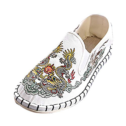Shusuen Unisex Embroidery Slip On Sneakers Casual Flat Shoes Loafer 36' Knee Length Lab Coat