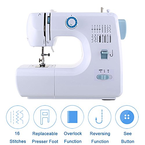 Meditool Sewing Machine Household Multifunction Double Thread and Speed Free-Arm Crafting Mending Machine with 16 Stitches - White & Blue by Meditool