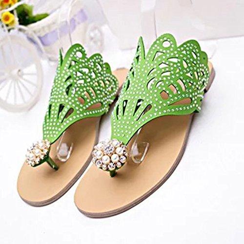Pantoufles Rome Kairuun de Femme l'été de Chaussures Vert Chaussons Élégant Strass Pantoufle Plage dwv1w