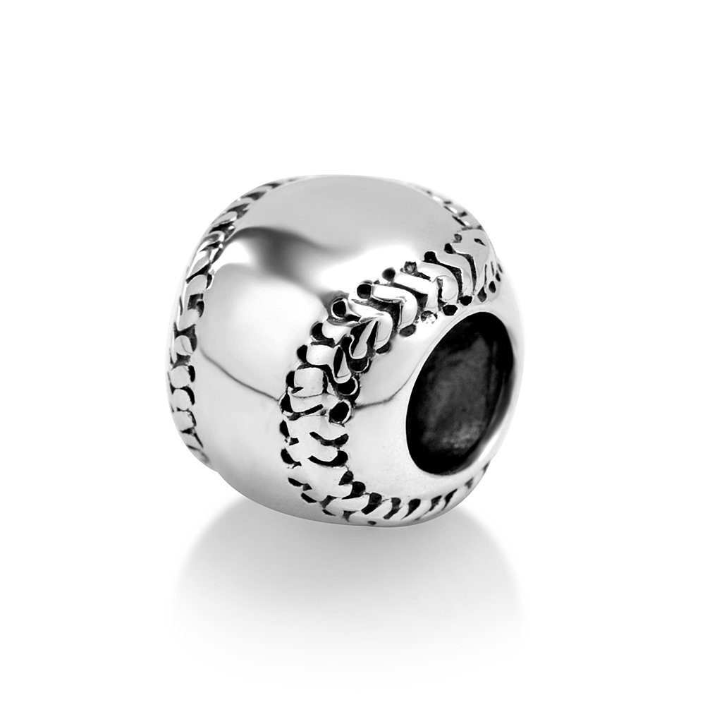 925 Sterling Silver I Love Baseball Softball Sport Bead Charm Fits Major Brands Bracelet