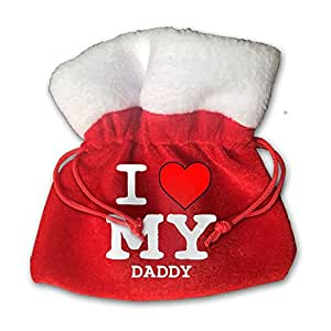 I Love My Daddy Red Velvet Drawstring Bags Christmas Party Wedding Favor Gift Bags 15cm X 15cm